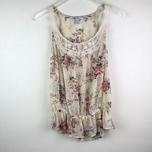 Floral tank with crocheted straps Size S